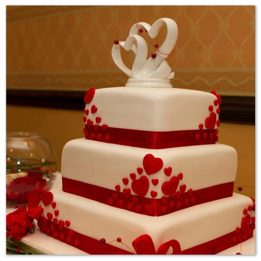 Love Forever three tier wedding cake
