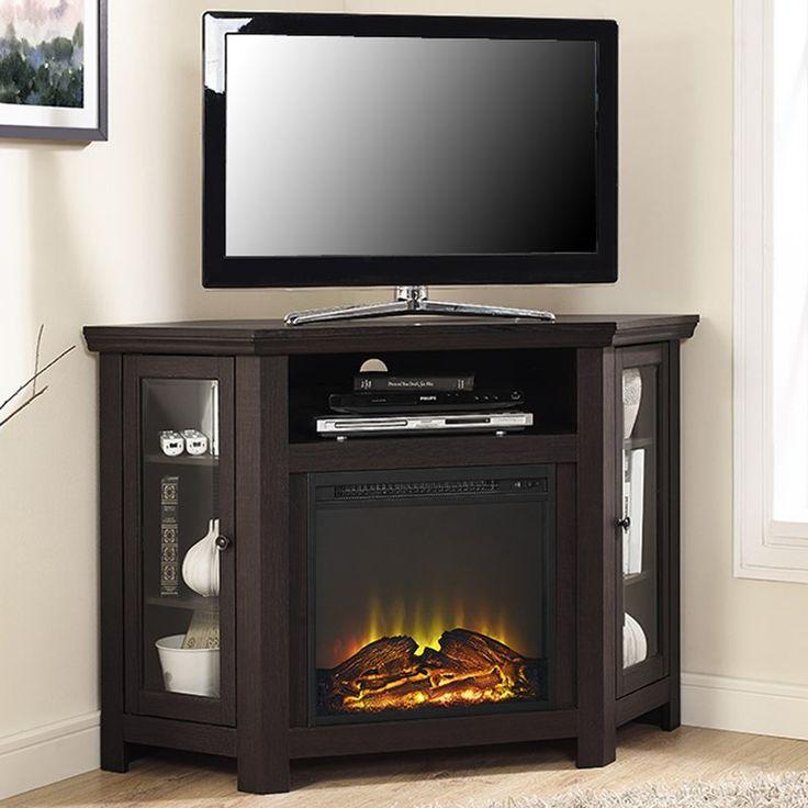 Tieton Corner Tv Stand For Tvs Up To 50 With Electric Fireplace Included Corner Fireplace Tv Stand Black Corner Tv Stand Saracina Home