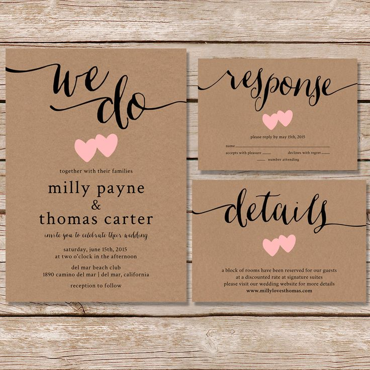 Rustic Wedding Invitation / kraft paper wedding por paperhive