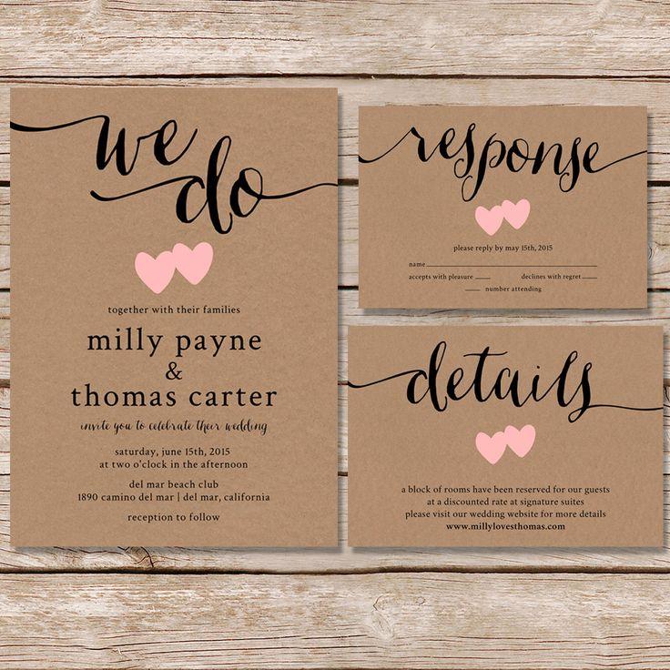 Rustieke bruiloft uitnodiging / kraft papier bruiloft door paperhive