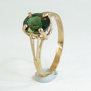 1.64CTs. Earth Mined Blue Green Sapphire in Solid 10K Yellow Gold Ring Size:N-7       RI403