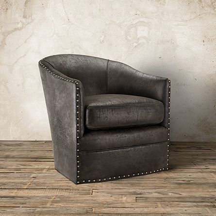"""Giles 28"""" Eco Leather Swivel Chair in Palance Steel 