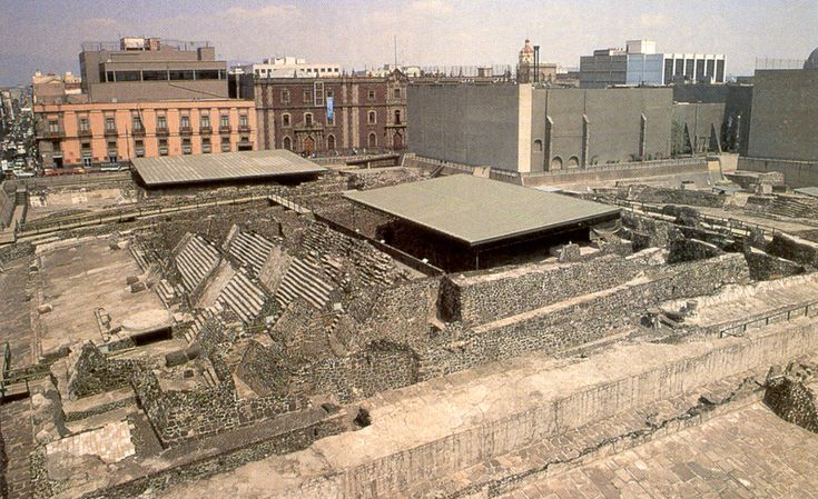 Templo Mayor at Tenochtitlan, the former site of human sacrifice by the Aztecs.