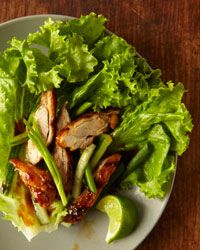 Korean-Style Chicken Wraps // More Tasty Korean Recipes: http://fandw.me/Cvx #foodandwine