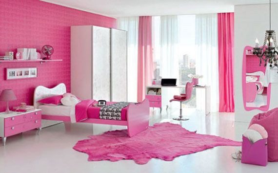 Girl Bedroom. Inspiring The Design Ideas And Contemplation When Obtaining Kids Bedroom Furniture: Luxurious Pink Colour Concept Kids Bedroom For Girls With Chandelier White Floor And Big Cupboard In The Corner For Luxury And Pleasure Nuance ~ wegli