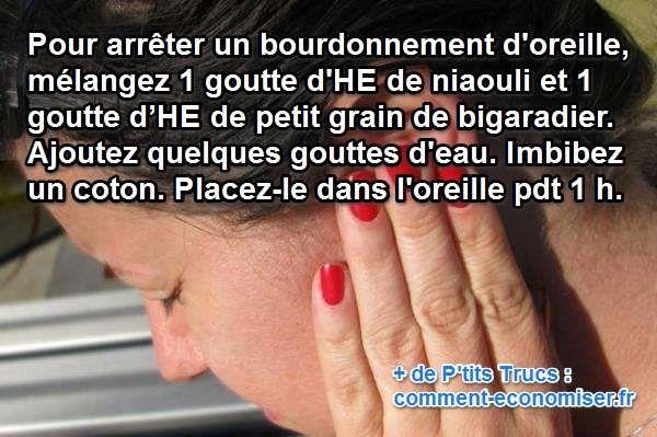 Quelle que soit la raison de votre bourdonnement d'oreille, il faut réagir vite ! Heureusement, il existe quelques réflexes à adopter pour traiter les bourdonnements dans les oreilles.  Découvrez l'astuce ici : http://www.comment-economiser.fr/remede-arreter-bourdonnement-oreille.html?utm_content=bufferd1c81&utm_medium=social&utm_source=pinterest.com&utm_campaign=buffer