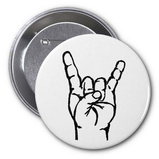 Heavy metal buttons | heavy metal horn black on white button