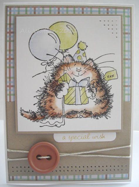 Penny Black Birthday Kitty critter card
