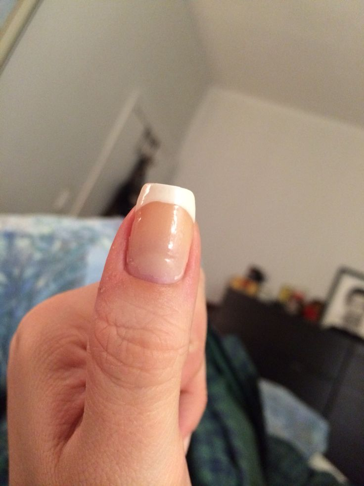 Square nails with French manicure
