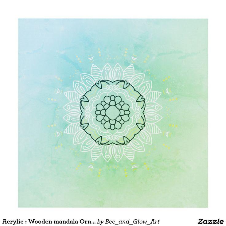 Acrylic : Wooden mandala Ornament Panel Wall Art