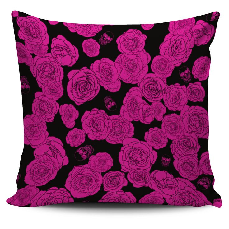 Fuchsia Roses And Skulls Pillow Cover