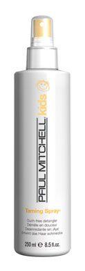 Taming Spray, condizionatore ad alto potere districante. Senza risciacquo. Eccellente per pettinare e districare i capelli dei bambini anche da asciutti.