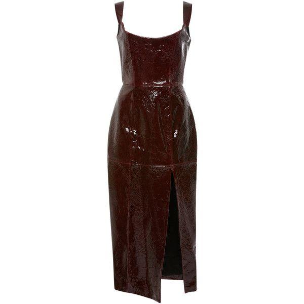 Pips Leather Corset Dress | Moda Operandi ($4,725) ❤ liked on Polyvore featuring dresses, brown corset, mid calf dresses, scoop neck dress, leather corset and leather midi dress