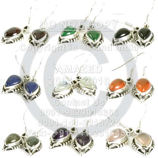 Indian handmade 92.5 Sterling Silver Hallmarked Certified Wholesale natural semi precious studded beautiful handcrafted Earring Multi stones. Our Price80 $USD