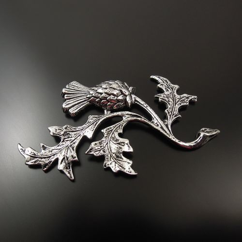 6 PCs Antiqued Style Silver Tone Alloy Thistle Plant Craft 47*32*2mm