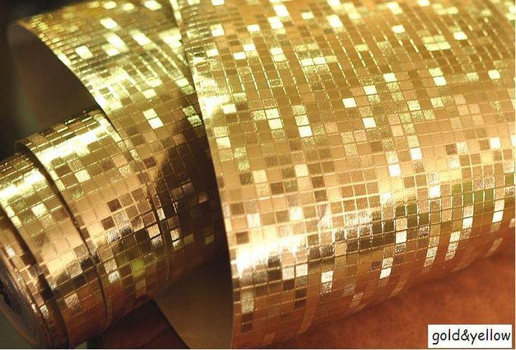 Мини мозаика Роскошный блеск обои фоне стены блестящий золотой фольги обои серебро потолочные обои обои WP038 купить на AliExpress