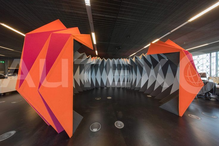 Autex Interior Acoustics - Workstation™ - Custom Design Meeting Pod - RMIT University, VIC, Australia - Project by Leanne Zilka and Jenny Underwood - Constructed from Workstation™ covered in Vertiface® - Colours: Raspberry, Brilliant Orange, Koala & Silver - Photographer: John Gollings