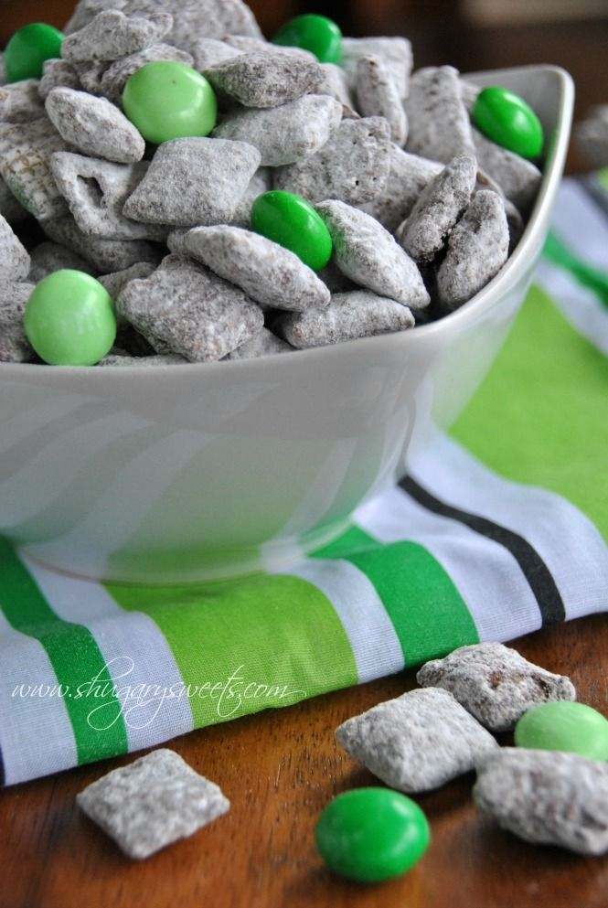 St. Patty's Day Yummies!    Thin Mint Puppy chow: this recipe for puppy chow tastes like the popular Thin Mint Cookies