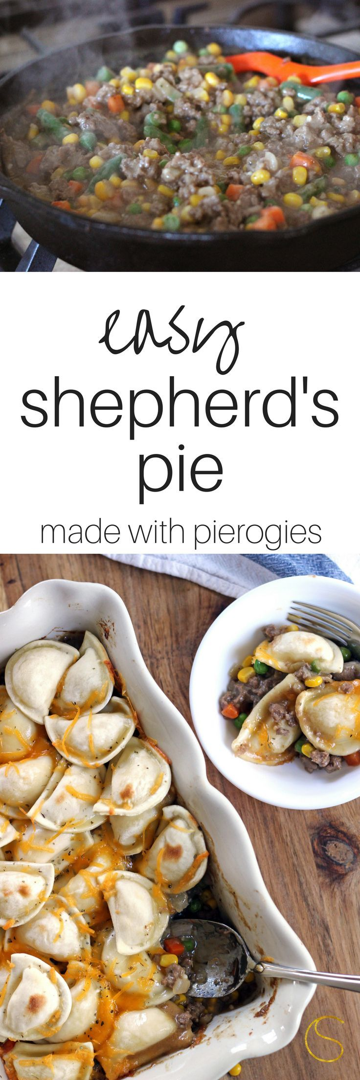 This easy shepherds pie recipe with made with Mrs. T's Pierogies!  It's so simple to make and the sauce is from scratch - no canned soup!  Dinner is ready!  #ad