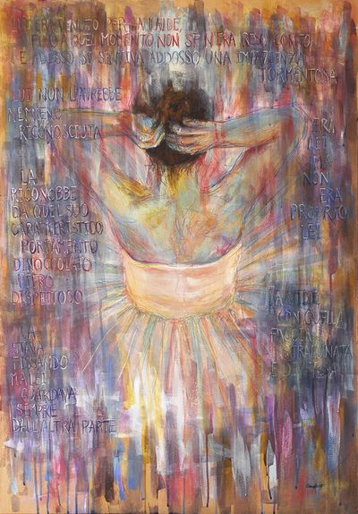 La ballerina della Scala. Mixed media, kraft paper on canvas. 70x100 cm/ 27,5x39 inch