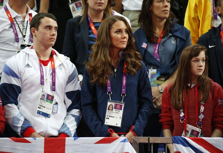 Catherine, Duchess of Cambridge cheers on Great Britain's men's gymnastics team as they compete in the 2012 London Summer Olympics. August 5, 2012