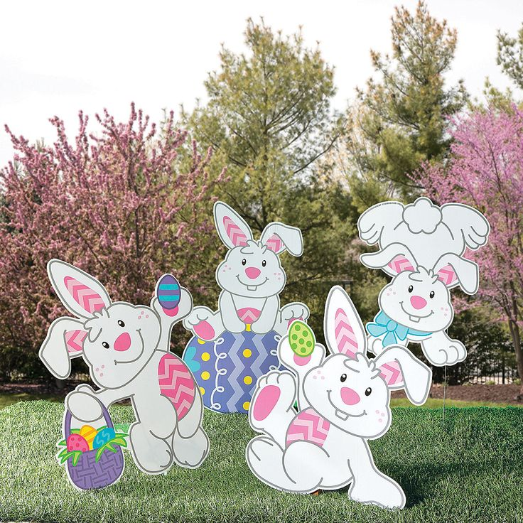 Easter Rabbit Bunny Holographic Yard 28 Images With Carrot Eggs Garden Stake