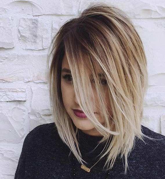 Voluminous A Line Lob + Blonde Balayage Highlights