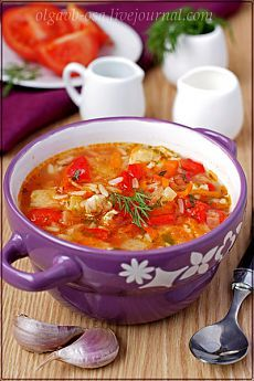 Томатный суп с рисом и курицей