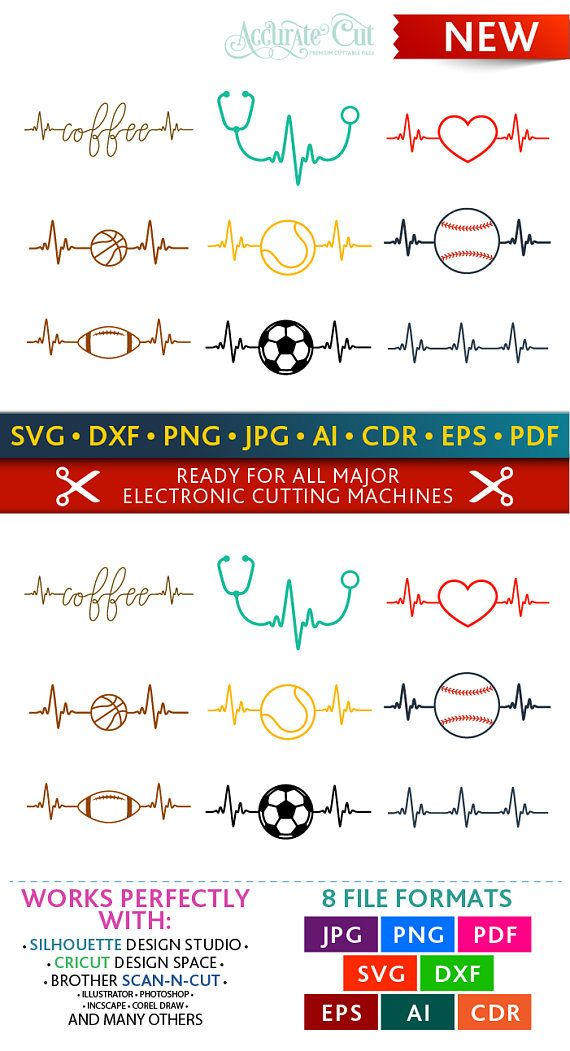 Heartbeat Svg Heartbeat Baseball Heartbeat basketball Heartbeat Cut Files Silhouette Studio Cricut Svg Dxf Jpg Png Eps Pdf Ai Cdr