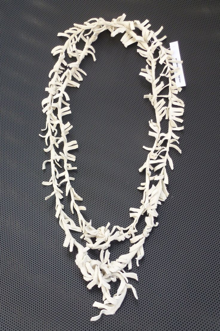Leather necklace,long/short (soft off-white goatskin)Made by UNNI HOFF