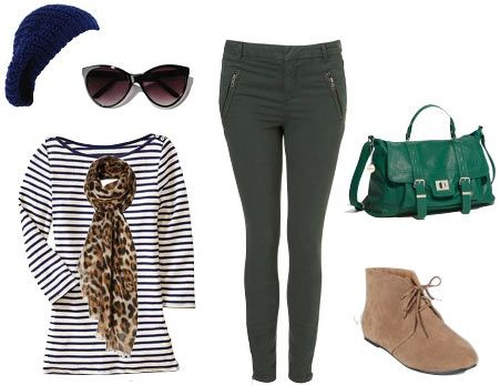 Outfit inspired by Jessica Alba - Striped shirt, green skinny pants, green satchel bag, desert boots, beanie//Too cute!
