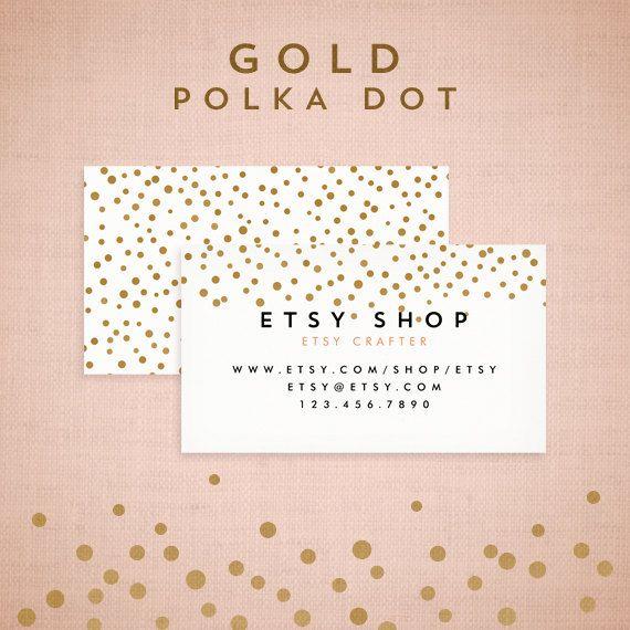 Premade Business Card Design - CMYK Gold Polka Dot Collection - CMYK Silver Polka Dot Collection