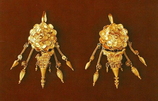 Ancient Greek earings found in Kozani Macedonia Greece