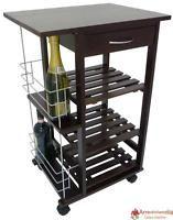 Carrello da cucina in legno noce con porta bottiglie cassetto e ruote 3 piani