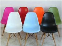 DSW Eames Style dining side chair wooden legs base, made in plastic