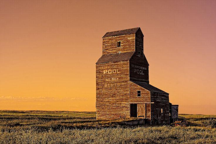 Old Grain Elevator in the ghost town of Bents, Saskatchewan