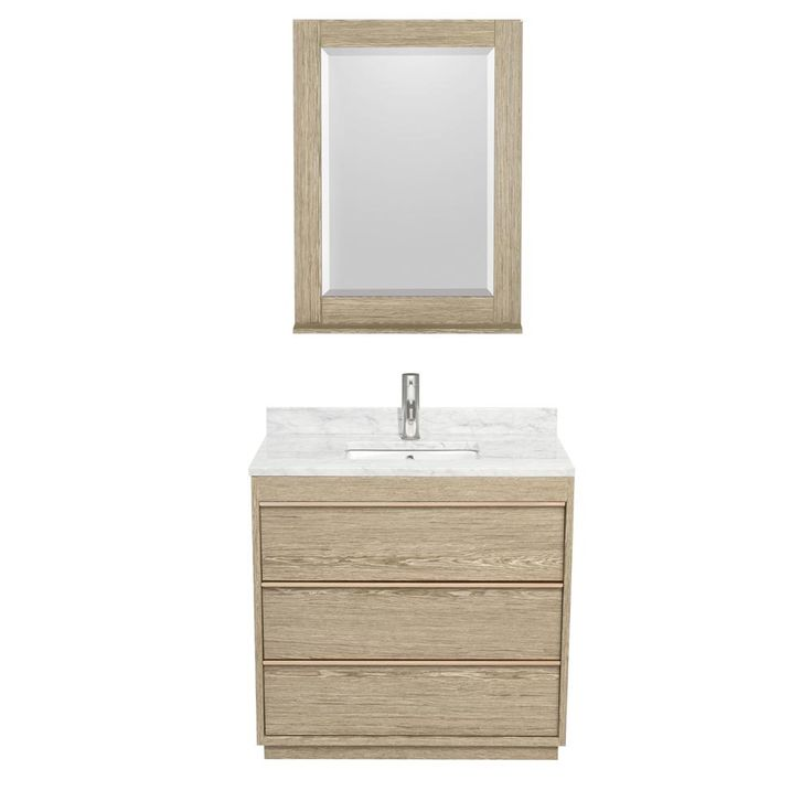 Images On Wyndham Collection Naya in W x in D Vanity in Ash Gray with Marble Vanity Top in Carrera White with White Basin and in Mirror