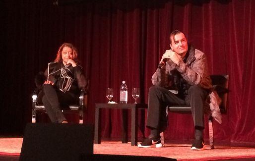 Zaha Hadid Keeps it Light at ACADIA 2014 Conference | Zaha Hadid and Patrik Schumacher field questions at USC. Credit: Anthony Morey / Archinect | Archinect