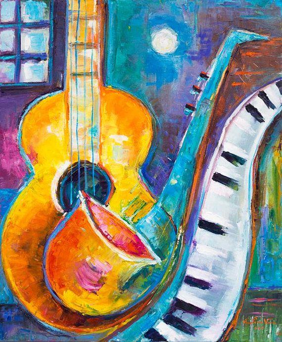 Abstract Original Impasto Texture Oil Painting Music Marlina