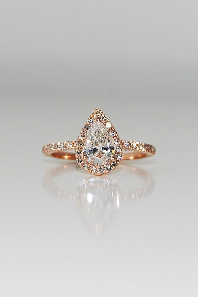 36 Utterly Gorgeous Engagement Ring Ideas ❤️ engagement ring inspiration halo pear cut rose gold pave band ❤️ See more: http://www.weddingforward.com/engagement-ring-inspiration/ #weddingforward #wedding #bride #UniqueEngagementRings