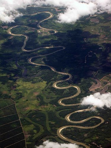 Meandering River in Sumatra, Indonesia