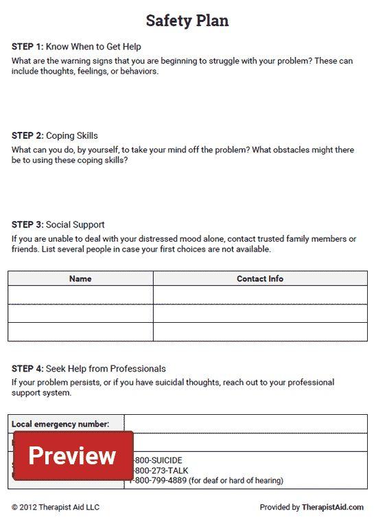 Safety Plan Worksheet Therapy Worksheets Kids Mental