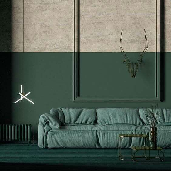 Forest green half painted living room - two trends in one