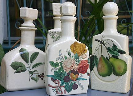 Decoupage bottles by Rebecca Pavlik