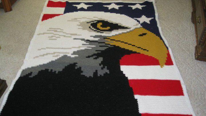 American Eagle crocheted character blanket Handmade ...