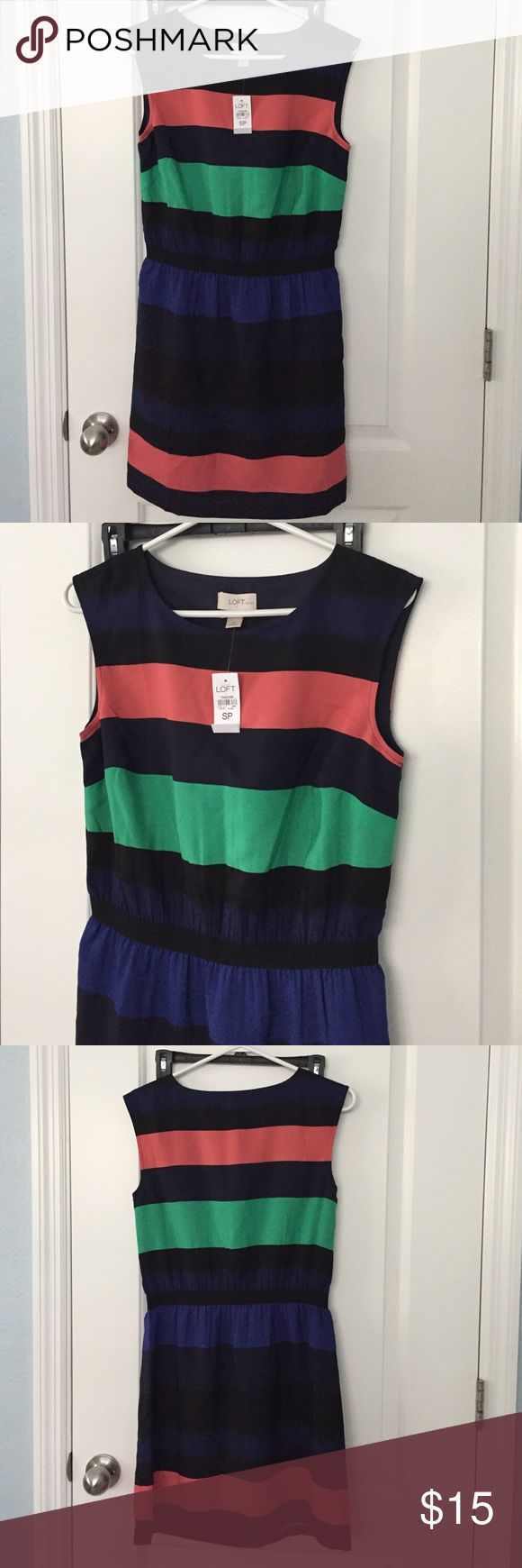 Ann Taylor Loft dress Navy blue striped dress. Purchased from loft outlet store and never wore. LOFT Dresses