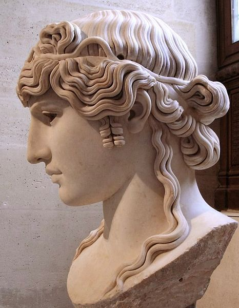 "Ancient Greek Hairstyles | ... bust of Antinous, c. 130 AD."" Image Source: Wiki via Ancient Hair"