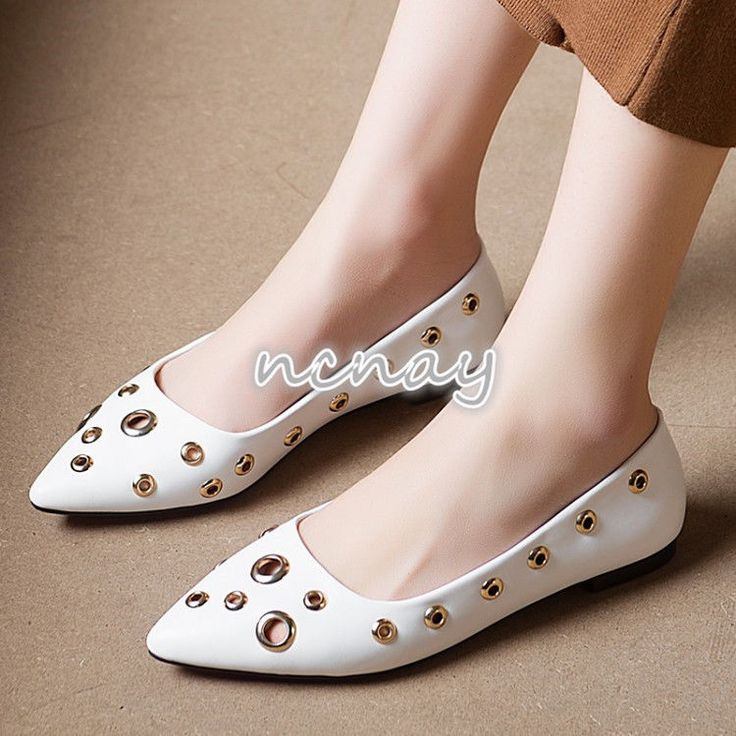 Womens Buckle Holes Casual Flats Boat Shoes Slip On Pointy Toe Shoes Mary Janes