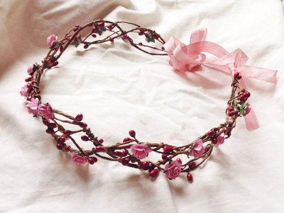 Romantic Bridal pink rose and burgundy red pip berry hair crown wreath garland headband - floral, nature, love, woodland, vintage inspired