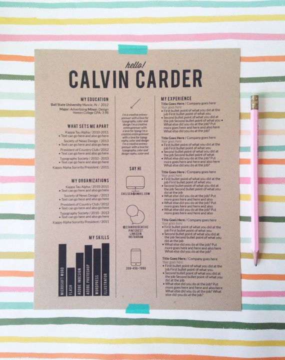 Customized Resume Design / The Calvin By 23and9Creative On Etsy, $60.00